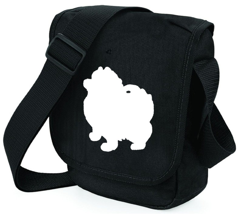 Zipped pocket colour choice Pomeranian Dog Bag for Dog Walkers Pom Silhouette on Mini Messenger Bags Ideal Gift for Pomeranian Owner
