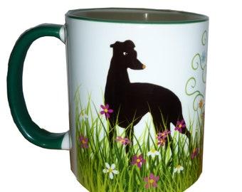 Whippet Greyhound Lurcher Dog Mug Sighthound Dogs in a Garden. Grass, Flowers, Tree Pretty Whippet Greyhound Gift Mug Mothers Day Gift