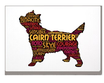Cairn Terrier Word Art Custom Print Personalized Option with Choice of your Dog Name / s. A4 A3 Cairn Terrier Birthday Xmas Mothers Day Gift