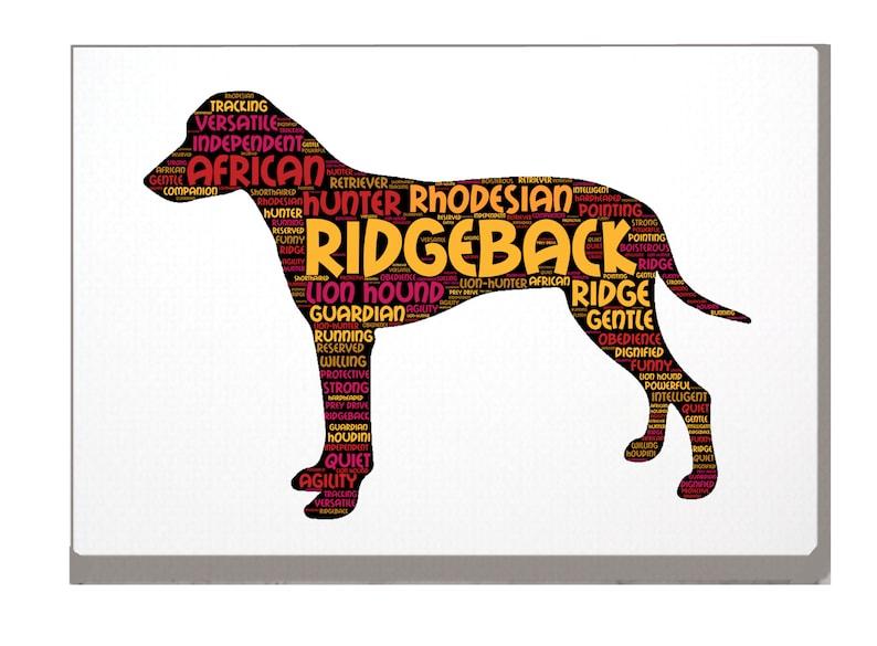 Rhodesian Ridgeback Word Art Custom Print Personalized Option with Choice of Dog Name A4 A3 Ridgeback Dog Birthday Xmas Mothers Day Gift