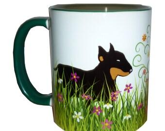 English Bull Terrier Dog Mug Bullie Dogs in a Garden Grass, Flowers, Tree Pretty Bull Terrier Gift Mug Bullie Gift Mug Mothers Day Gift