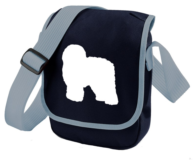Old English Sheepdog Bag For Dog Walkers Old English Silhouette On Shoulder Bags Ideal Gift For Sheepdog Owner Zipped Pocket Colour Choice