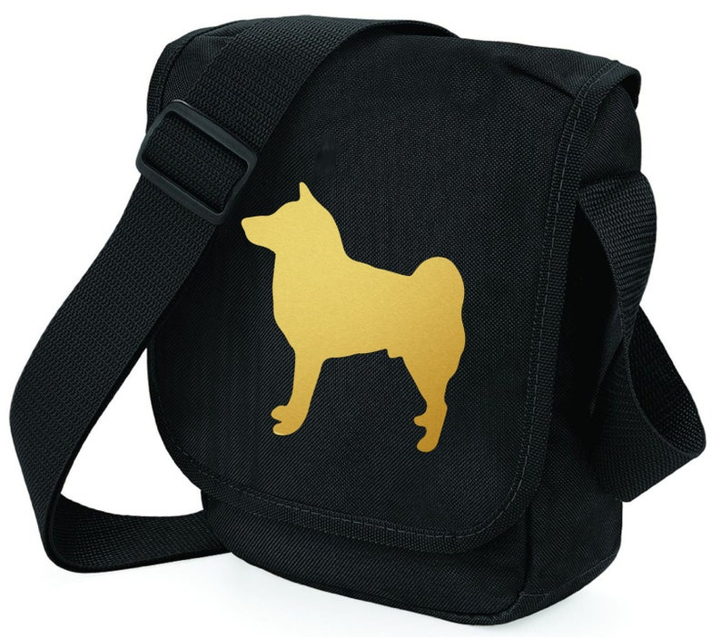 Shiba Inu Dog Bag Metallic Gold or Red Shiba Inu Silhouette on Shoulder Bags Ideal Gift for Dog Walkers  Shiba Inu Owner Zipped pocket.