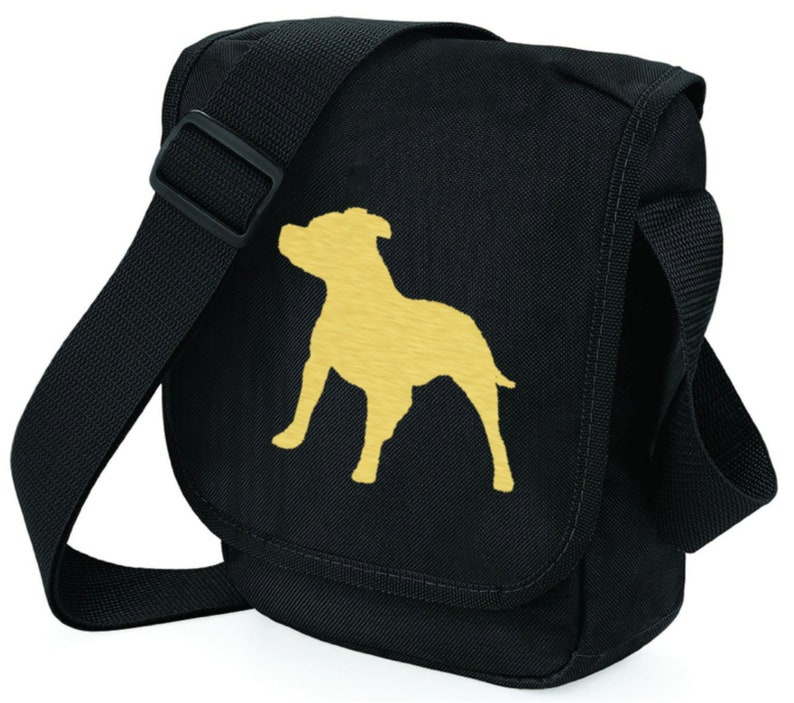 Staffordshire Bull Terrier Bag Metallic Gold or Silver Staffie Silhouette Black Shoulder Bags Staffy Dog Walkers Mothers Day Gift