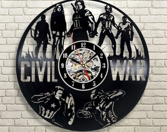 Civil War Vinyl Wall Clock, Gift For Boy, Civil War Wall Clock Large, Birthday Gift For Kids, Game Vinyl Record Wall Clock, Wall Clock Large
