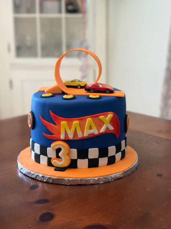 Swell Hotwheels Fondant Caketopper Set With Race Track Loop Etsy Funny Birthday Cards Online Chimdamsfinfo