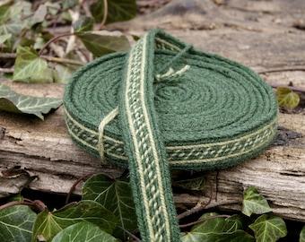 Narrow tablet woven trim - Oseberg viking - 390 cm, Viking reenactment - green viking tunic trim