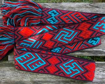 Tablet woven belt - Migration period, Vendel belt - 200 cm - tablet weaving  - historical pattern - Snartemo V (Norway) finds