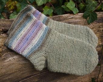 Nalbinding socks EU 42/US 8.5, 100% natural wool plant dyed stripes. Warm viking socks for LARP, norse, anglo-saxon, medieval reenact.