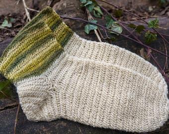 Nalbinding socks EU 45/US 11-100% natural wool elderberry dyed stripes. Warm viking socks for LARP, norse, anglo-saxon, medieval reenactment