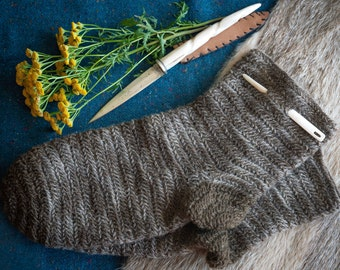 Nalbinding Socks made to size Euro 45/US 12, wool plant dyed with Tansy. For Viking, Norse, Anglo Saxon, Medieval Reenactment or SCA, LARP.
