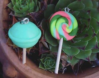 Candy Lollipop Polymer Clay Pendants