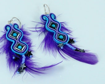 Colorful earrings, gift for mom, gift for women, soutache earrings, dangle earrings, soutaache jewelry, purple turquoise jewelry