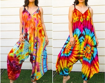 Hand Dyed Hippie Jumpsuits Rompers Pants, Hippie Overalls, Wide Legs Jumpsuits, Festival Clothing, Tie Dye Clothing, Beach Wear