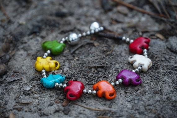 Gypsy Bracelets Elephant Jewelry Hippie Bracelets Elephant Gifts Festival Jewelry Elephant Brass Bracelets Boho Stone Bracelets