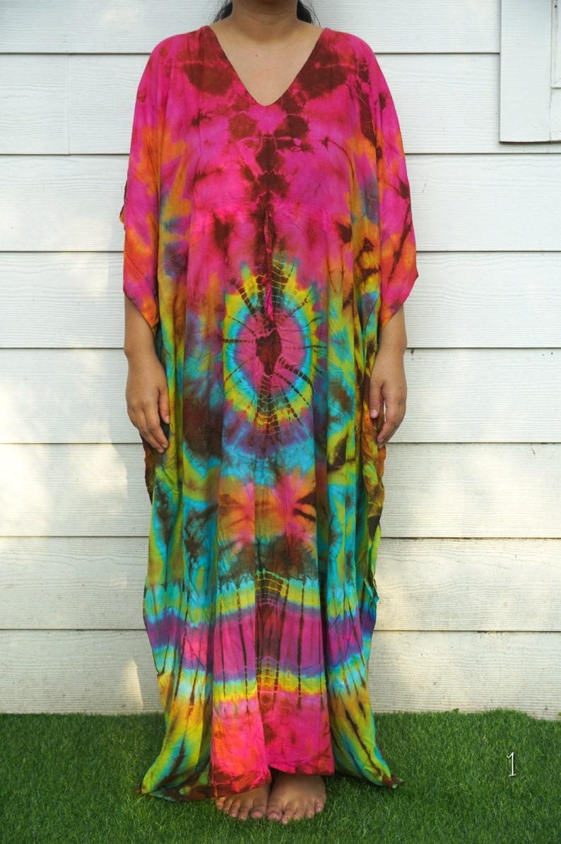 Tie Dye Kaftan Dress Beachwear Loose Fit Tie Dye Dress Loungewear Swimsuit Cover Up Tie Dye Clothing Tye Dye Caftan Dress