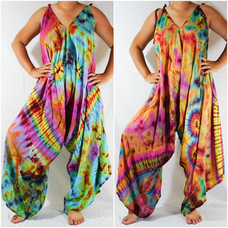48e0d2d263868 Tie Dye Hippie Jumpsuits Rompers Pants, Hippie Dress, Wide Legs Jumpsuits,  Festival Clothings, Summer Clothing, Harem Dress, Beach Wear