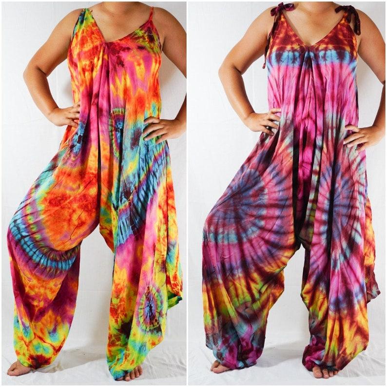 d02d97e8e0332 Tie Dye Hippie Jumpsuits Rompers Pants, Hippie Dress, Wide Legs Jumpsuits,  Festival Clothings, Summer Clothing, Harem Dress, Beach Wear