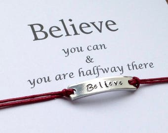 Believe you can & you're halfway there, Motivational Gift, Wishing Bracelet, Inspirational Bracelet, Make a Wish, Christmas