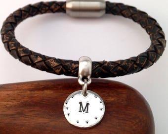 Initial Leather Bracelet, Mens Bracelet, Gift For her, Gift For him, Bracelet for Men, Women Bracelet, Gift For Husband, Gift