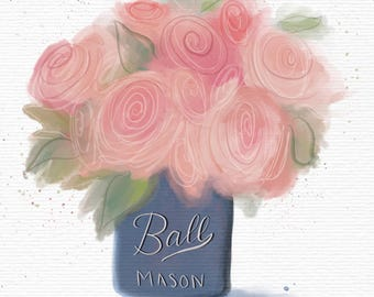 Chalk-Painted Mason Jar With Flowers Watercolour Style Digital Art Print