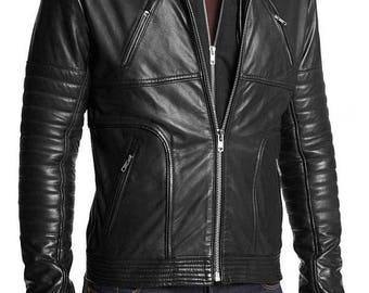 The Kay's Leather Men's 2018 New Fashion Black Biker Motorcycle Casual Outwear 100% Genuine Lambskin Leather Jacket