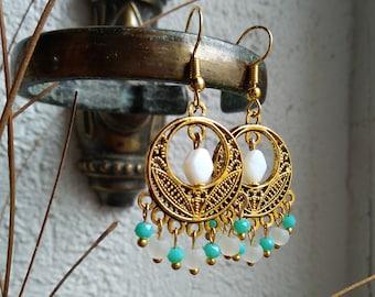 Earrings ethnic earrings chandelier white and turquoise goldtone