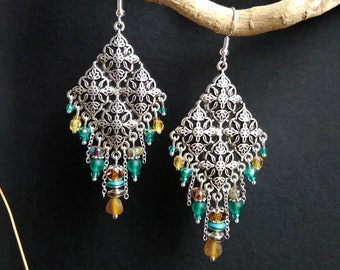 Ethnic style honey and green silver chandelier earrings
