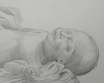 Unique Individual Custom Newborn Pencil Portrait