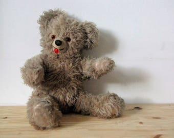 Vintage - old teddy bear retro - vintage toy - collectible - tongue pulls - brown bear - childhood toy Teddy bear