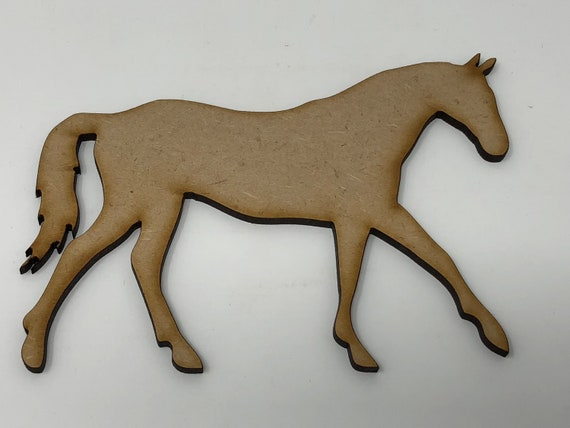 Wooden MDF Craft Shapes Animal Horse Trotting Bunting Embellishment Decoration