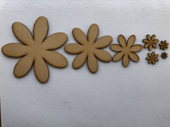 Wooden 3mm MDF Daisy Flower Shapes