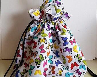 Large drawstring tote bag/ project bag