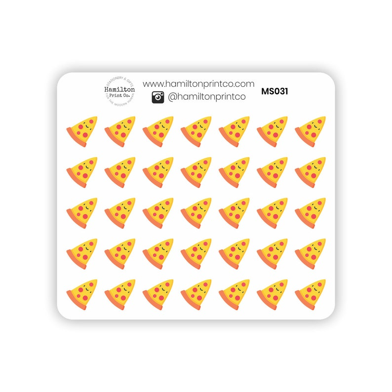 Cute Pizza Mini Sheet Kawaii Pizza Night Icon Stickers for image 0