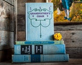Old Blue Books Antique Rustic Shabby Book Stack Set of 4 Vintage Decorative Collection for Table or Bookshelf Decoration Home Decor in Blues