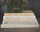 Vintage Coffee Table Books in Tan or Beige Oversized Neutral Book Set of 5 Home Staging Decorator Art Books Stack Bookshelf Styling Decor