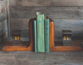 Antique Railroad Track Bookends Steel Rail Road Train Tracks on Wood Dated 1869 from 1800's Industrial Home Decor Book Ends Bookshelf Anvil