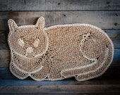 Vintage Woven Cat Wall Hanging or Table Accent Straw Hand Woven Wicker Kitty Cat Bohemian Boho Chic Beige Neutral Wall Decoration Home Decor