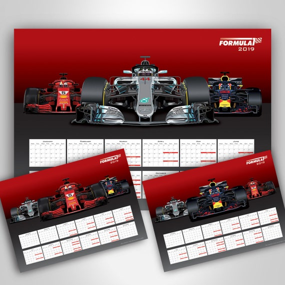Formule 1 Poster Calendrier F1 2019 Affiche Calendrier Wall Art