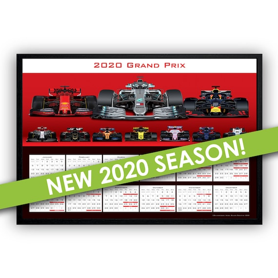 Calendrier F1 2020.Formule 1 Affiche Calendrier F1 2020 Affiche Calendrier Wall Art