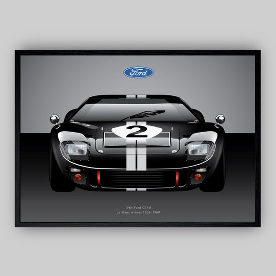 Ford GT40 Le Mans Race Car Wall Art Poster Illustration | Etsy