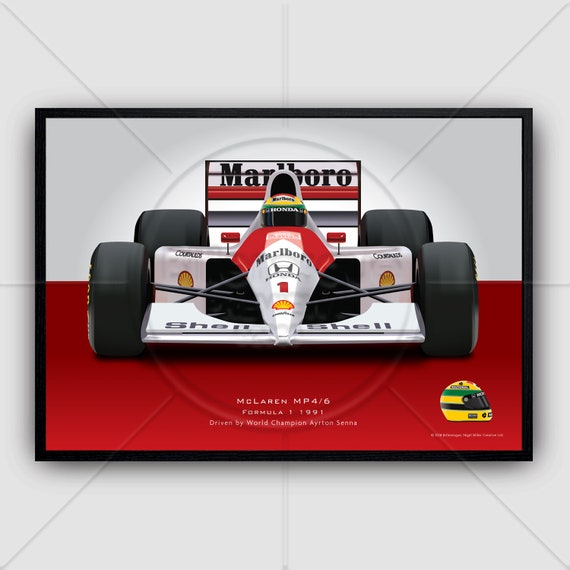 Ayrton Senna Grand Prix Wall Art Poster Memorabilia Formula 1 Mclaren Helmets Print F1