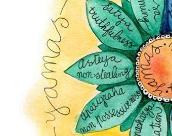 Yoga Poster Studio Decor Print Gift Teacher 8 Limbs Of Philosophy Study Wall Art