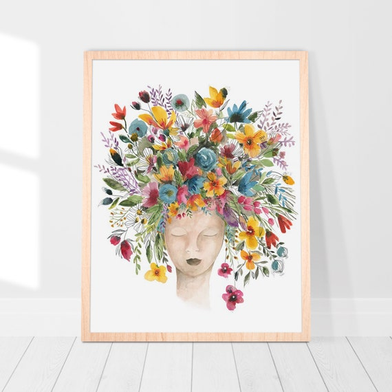 Mother Nature Art Print Woman With Flowers Watercolor Wall Etsy