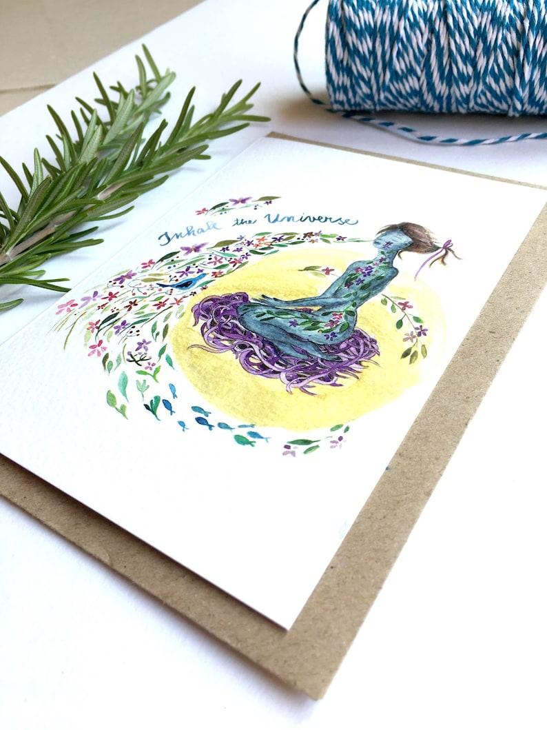 spiritual art quote yoga card watercolor zen birthday card
