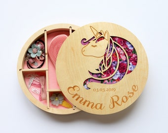 a1d66599ee Personalized Jewelry Box, First communion gift girl, Girls jewelry box,  Flower Girl Gift, Jewellery box, Engraved jewelry box, Unicorn box