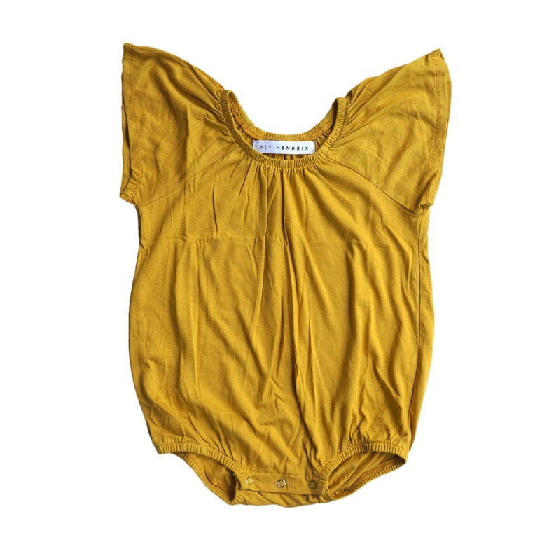 Mustard Baby Romper Kids Romper 3-6m Bubblesuit Frill Romper Girl Playsuit Bamboo Frillysuit Baby Shower Gift Coming Home Outfit