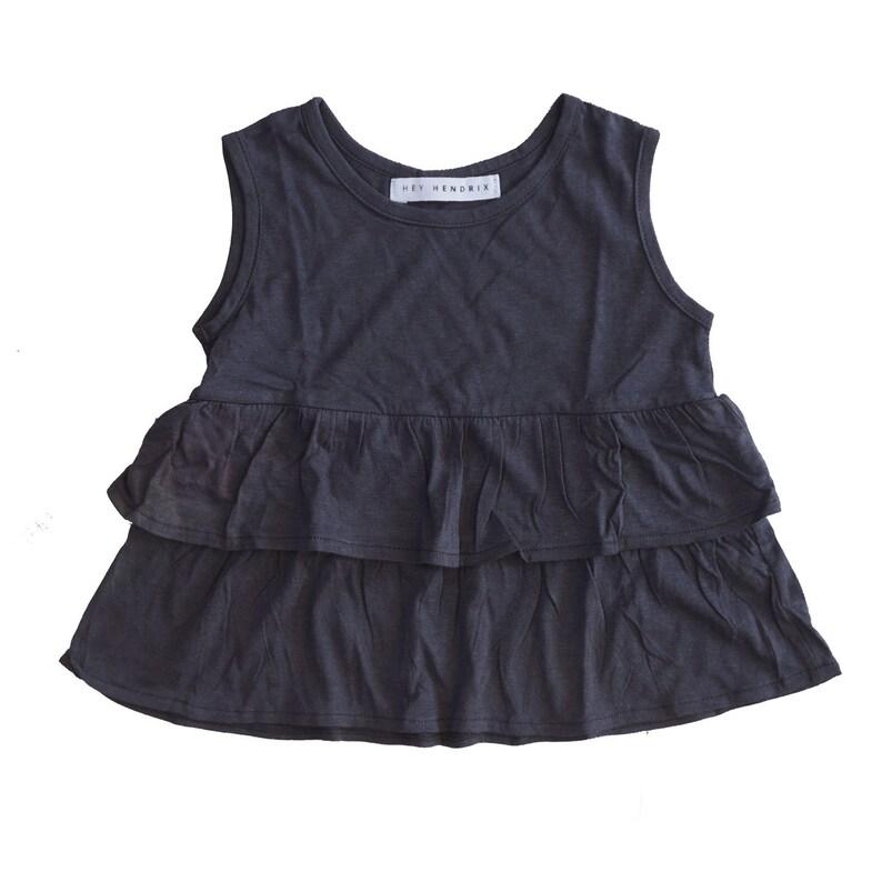 40ef2f1f4afa Ruffle Vest Top Gray Girl Top Toddler Top Girl Frill Top