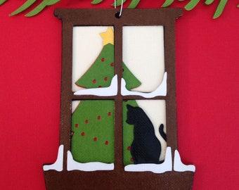Kitten in the Window Christmas tree ornament