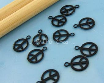 "Prints ""Peace & Love"" set of 10 - black - Diam 6.20 mm # 444 """""